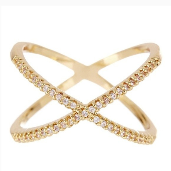 T&J Designs Jewelry - Gold Pave X Ring